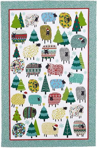 Asciugapiatti - tea towel cotone pecore e alberi di natale