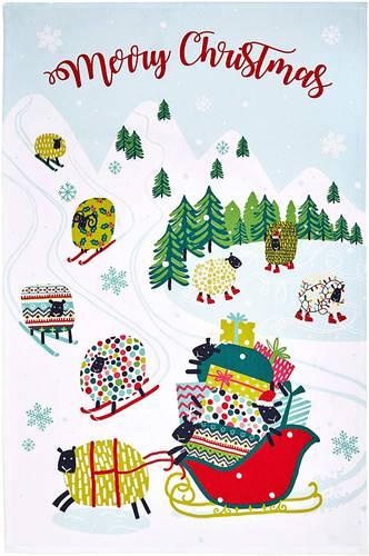Asciugapiatti - tea towel cotone natale pecore sulla neve