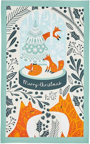 Asciugapiatti - tea towel cotone volpi Merry Christmas