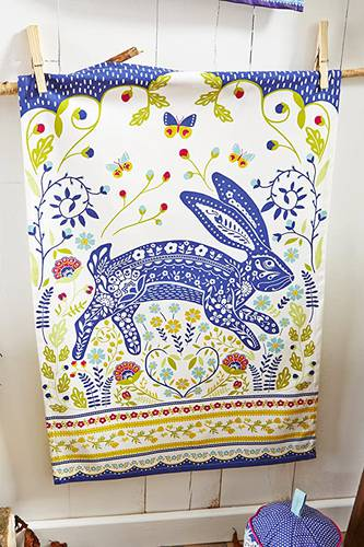 Asciugapiatti - tea towel cotone coniglio blu woodland hare