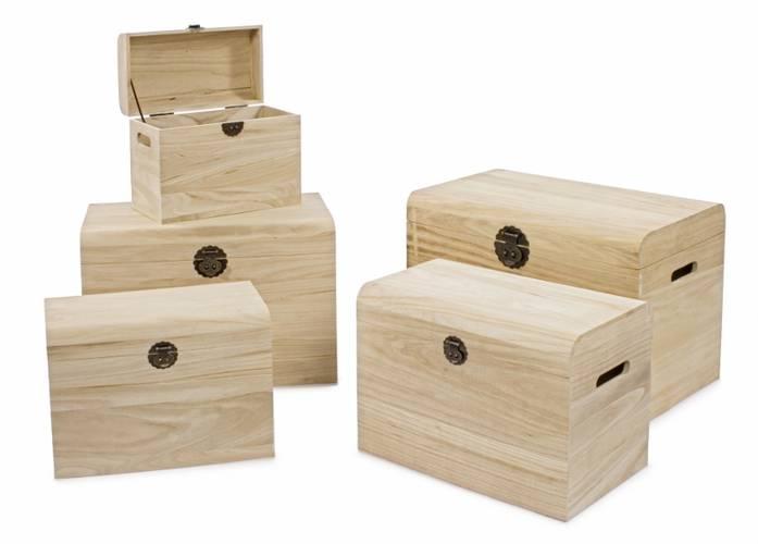 Baule legno grezzo bombato
