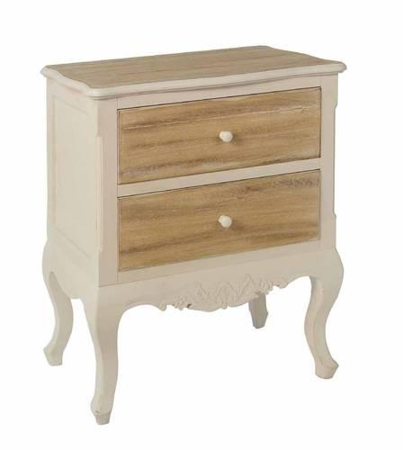 Cassettiera provenzale legno bianca e naturale 2 cassetti
