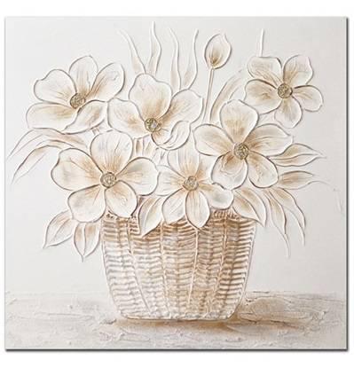 Quadro a olio cesto di fiori bianchi 80x80