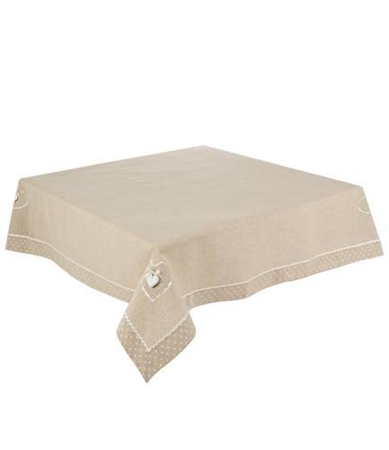 Tovaglia cotone beige cuori bianchi 140x180