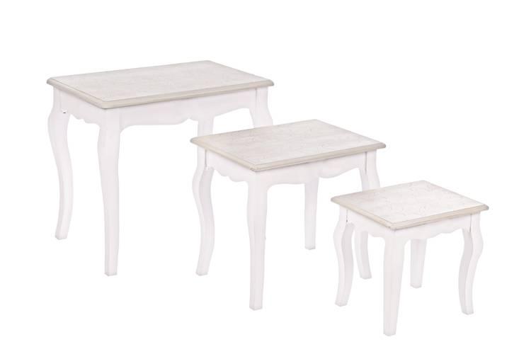Tavolino legno bianco decapato