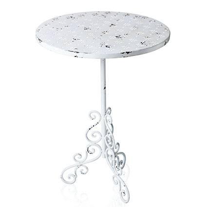 Tavolino ferro bianco shabby tondo