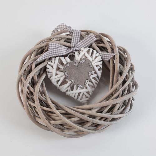 Corona vimini grigio con cuore bianco cm 25