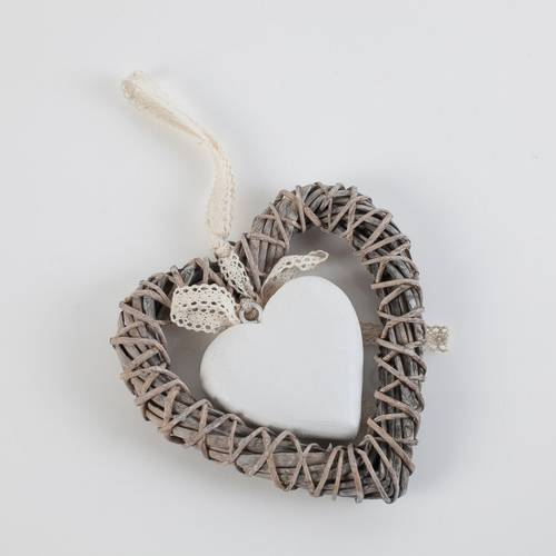 Corona cuore vimini grigio con cuore bianco cm 15