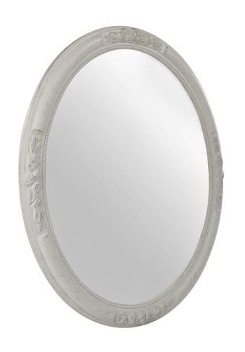 Specchio barocco ovale legno bianco 57x67