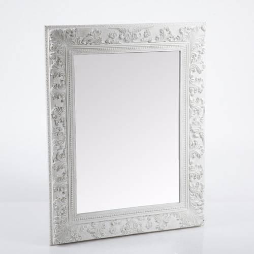 Specchio bianco cornice legno decoro foglie 73X94
