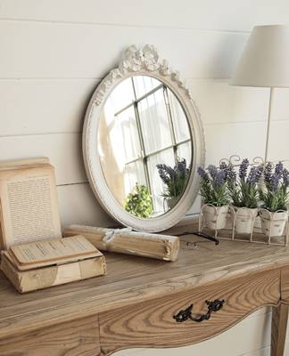 Specchio bianco ovale fiocco h50