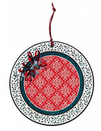 Sottopentola ceramica tonda Cantico fiocco rosso