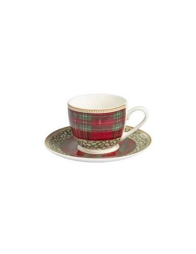 Set 2 tazzine caffe' Sottobosco tartan rosso+bacche