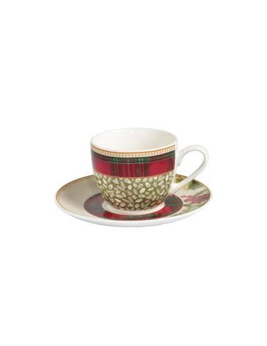 Set 2 tazzine caffe' Sottobosco bacche +foglie verdi