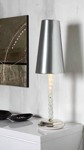 Lampada tavolo sfere paralume argento
