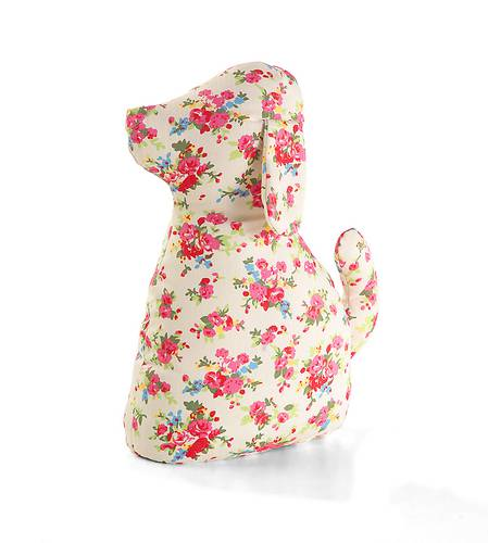 Fermaporta cane fiori rosa