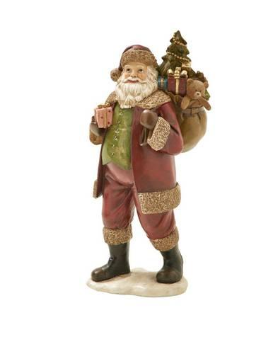 Babbo natale statuina rosso con sacco doni 37h