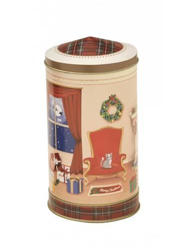 Barattolo metallo albero e regali di natale con carillon