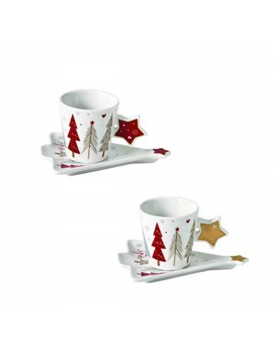 Set 2 tazzine caffè fiocco di neve porcellana