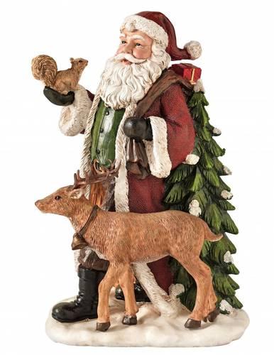 Babbo natale statuina rosso con sacco renna e sciattolo 31,5h