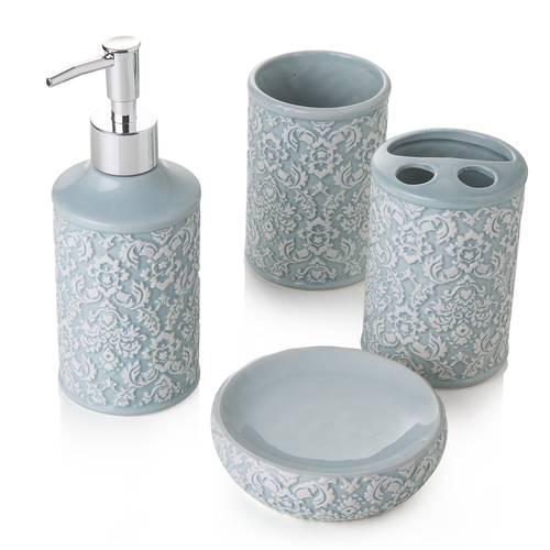 Accessori bagno ceramica turchese decor 4 pezzi
