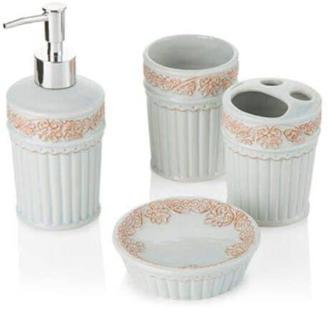 Accessori bagno ceramica verde acqua decor 4 pz