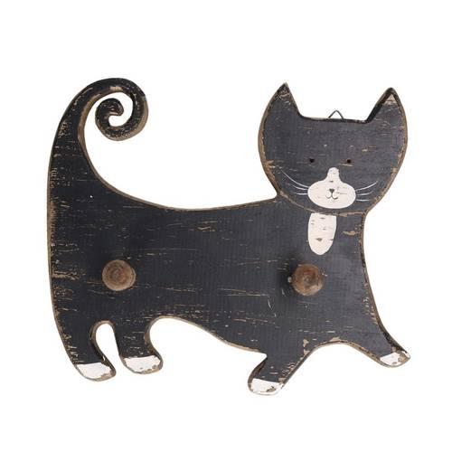 Appendiabiti gatto nero legno da parete due pomoli
