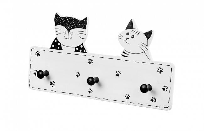 Appendiabiti legno due gatti bianchi e neri 3 pomoli