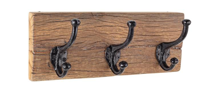 Appendiabiti legno rustico vintage a parete 3 ganci