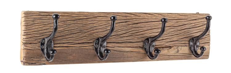 Appendiabiti legno rustico vintage a parete 4 ganci