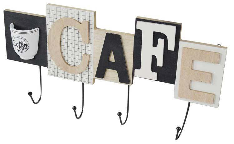 Appendiabiti parete legno Cafe 4 ganci