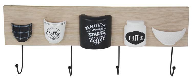 Appendiabiti parete legno naturale e nero Coffee 4 ganci