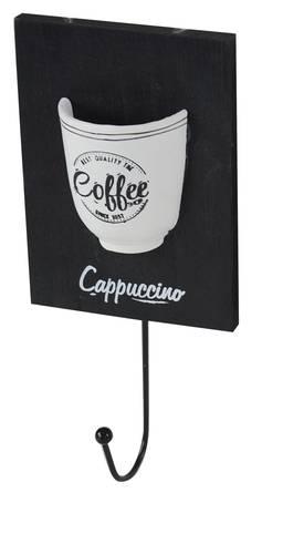 Appendiabiti parete legno nero Coffee 1 gancio