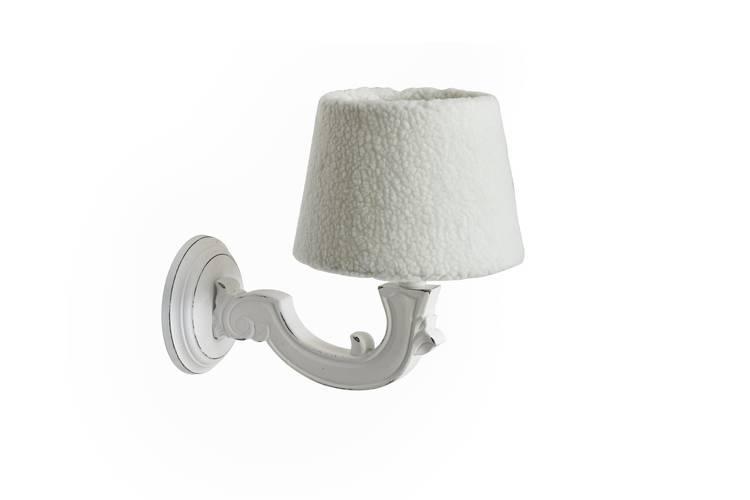 Applique legno bianco decoro foglia paralume lana