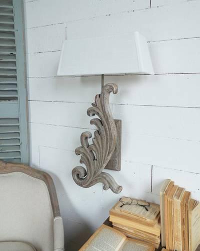 Applique legno naturale foglia verticale
