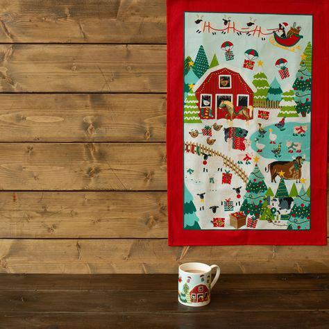 Asciugapiatti - tea towel cotone fattoria natalizia