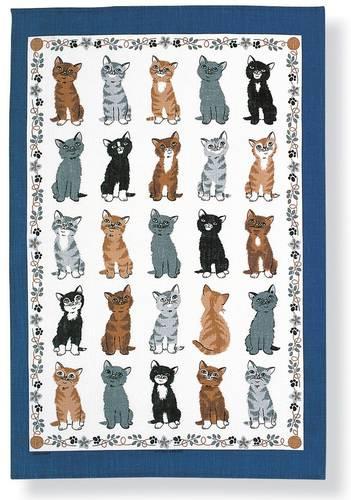 Asciugapiatti - tea towel cotone gatti cornice blu