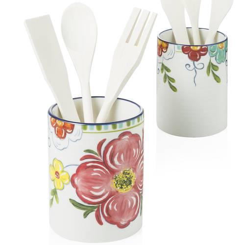 Barattolo frida porta mestoli ceramica decoro fiori