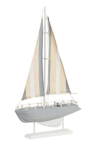 Barca a vela legno azzurro decorativa h 51,5