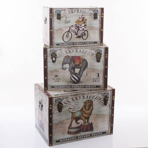 Baule circus vintage legno e ecopelle