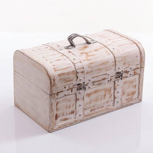 Bauletto legno bianco shabby con maniglia ecopelle