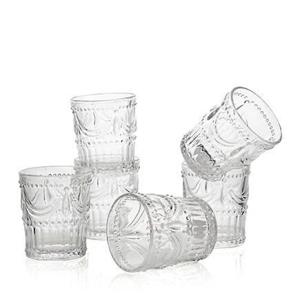 Bicchiere acqua festone vetro trasparente 6 pz