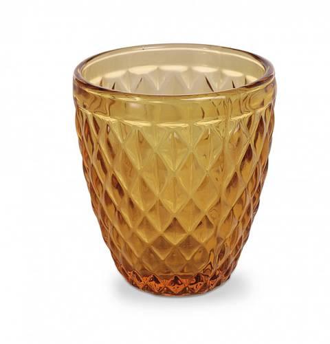 Bicchiere acqua vetro rombi giallo ambra
