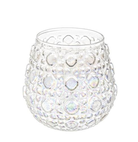 Bicchiere portacandela vetro perlato decoro gocce 8h