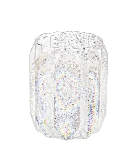 Bicchiere portacandela vetro perlato decoro ottagoni 9h