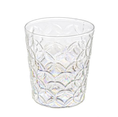 Bicchiere portacandela vetro perlato decoro rombi