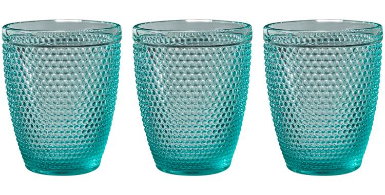 Bicchiere acqua vetro pallini blu tiffany 6pz