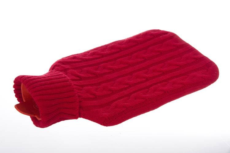 Borsa acqua calda con rivestimento lana rossa