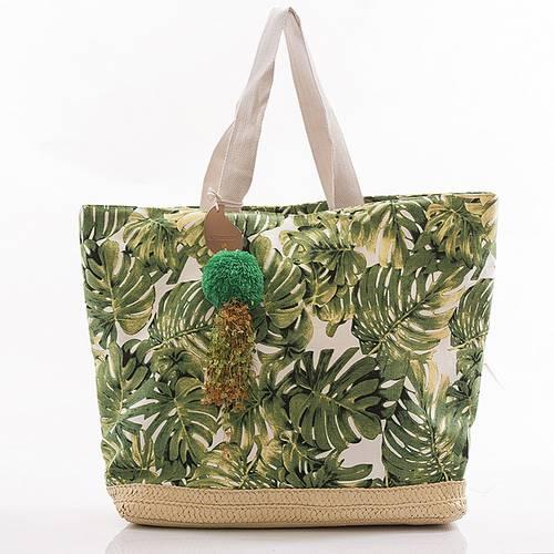 Borsa mare cotone stampa foglie verdi
