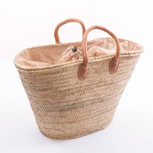 Borsa palma ovale manici cuoio con chiusura tessuto beige